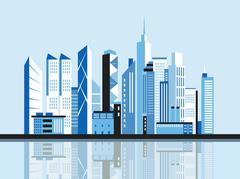 City downtown landscape. Skyscrapers in the town. Flat vector illustration. Stock Illustration