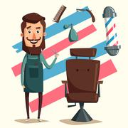Cute barber character. Cartoon vector illustration Stock Illustration