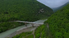 Aerial view of Mountain gorge and bridge in Abkhazia Stock Footage