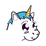 Cute unicorn drawn icon Stock Illustration