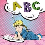 Little girl reading book on a bed. Vector illustration in comic pop art style Stock Illustration