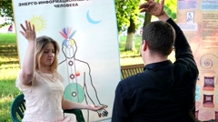 Meditation and breathing exercises under the guidance of a specialist, Yoga to Stock Footage