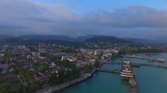 Flying over the coast of Sukhumi Stock Footage