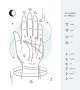 Hand with symbols of astrology Stock Illustration