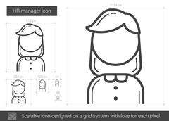 HR manager line icon Stock Illustration