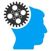 Head Gearwheel Flat Icon Stock Illustration