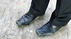 Old black leather shoes. Stock Footage