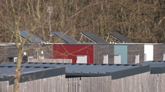 Houses With Solar Power Panels In France Stock Footage