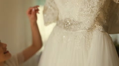 Big beautifull wedding dress close up Stock Footage