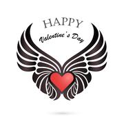 Valentine day heart with angel wings on background.Happy Valentines day lette Piirros