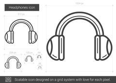 Headphones line icon Piirros