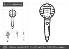 Radio microphone line icon Stock Illustration