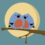 Two birds Stock Illustration