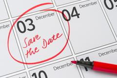 Save the Date written on a calendar - December 03 Stock Photos