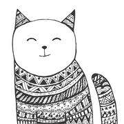 Tribal cat Stock Illustration