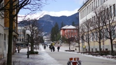 View of the main street in winter resort Smolian Stock Footage
