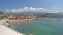 Budva, Montenegro: Adriatic Sea and mountains Stock Footage