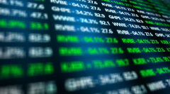 Stock Exchange Ominous CU of Stock Market Digital Ticker Numbers Stock Footage