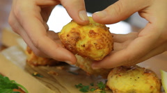 Gorgeous cheesy cutlets dish from cauliflower - meal at any time of the year Stock Footage