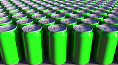 Generic green aluminum cans. Soft drinks or beer production. Recycling packaging Stock Footage
