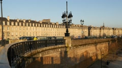 Bordeaux quays of the Garonne Stock Footage