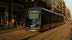 Bordeaux - Modern tram passing by Stock Footage