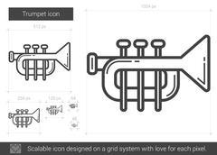 Trumpet line icon Stock Illustration