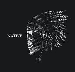 Skull indian chief hand drawing style Stock Illustration