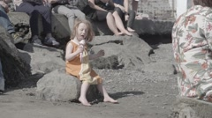 Child girl eating ice cream slow motion Stock Footage