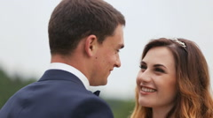 The smilling bride with her groom Stock Footage