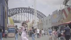 People dancing luna park sydney australia Stock Footage
