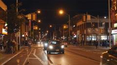 Bloor Street at Bathurst Street. Autumn night in Toronto, Canada. Stock Footage