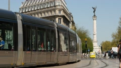The Place de la Comedie square - Modern tram passing by Stock Footage