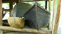 Traditional old fishing boats inside a fishery barn Stock Footage