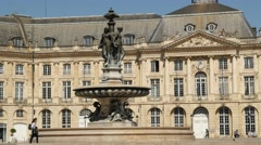 "Place de la Bourse and the ""Trois Grâces"" fountain Stock Footage"