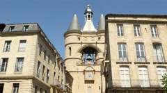 General view of Bordeaux - Grosse cloche and Belfry Stock Footage