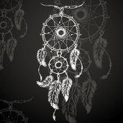 Dreamcatcher, feathers and beads. Stock Illustration