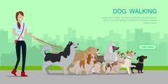 Dog Walking Banner. Woman Walk with Different Dogs Stock Illustration