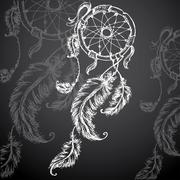 Dreamcatcher, feathers and beads Stock Illustration