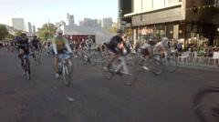 Beginning of bike race in San Diego Stock Footage