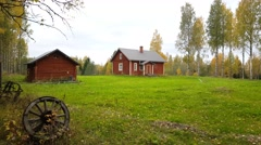 Small red house in Koivusuo Strict Nature Reserve Stock Footage