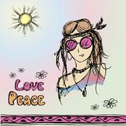 Friendly hippie with long hair making peace sign Stock Illustration