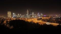 Timelapse night perth city skyline australia cars lights Stock Footage
