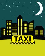 Night taxi in the city on the background of skyscrapers. Stock Illustration