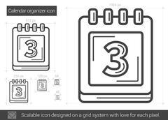 Calendar organizer line icon Stock Illustration