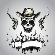 Cowboy Skull with revolvers and  ribbon for text Stock Illustration