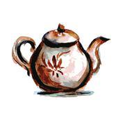 Teapot  on white background , watercolor Stock Illustration