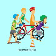Summer sport. Active way of Life Conceptual Banner Stock Illustration