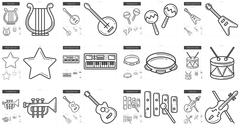 Music line icon set Stock Illustration