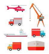 Set of Transports for Worldwide Goods Delivering Stock Illustration